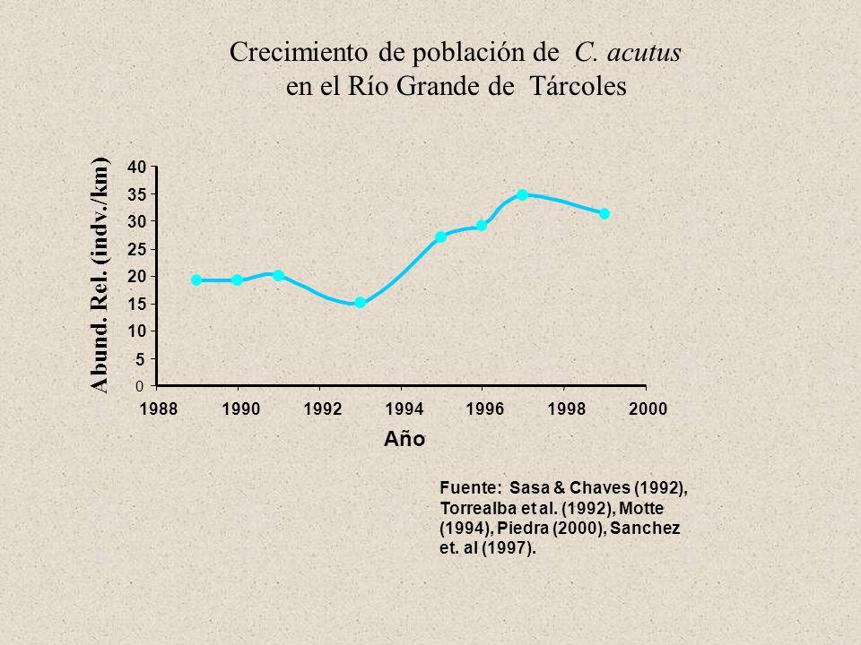 Crecimiento de población de C. acutus en el Río Grande de Tárcoles