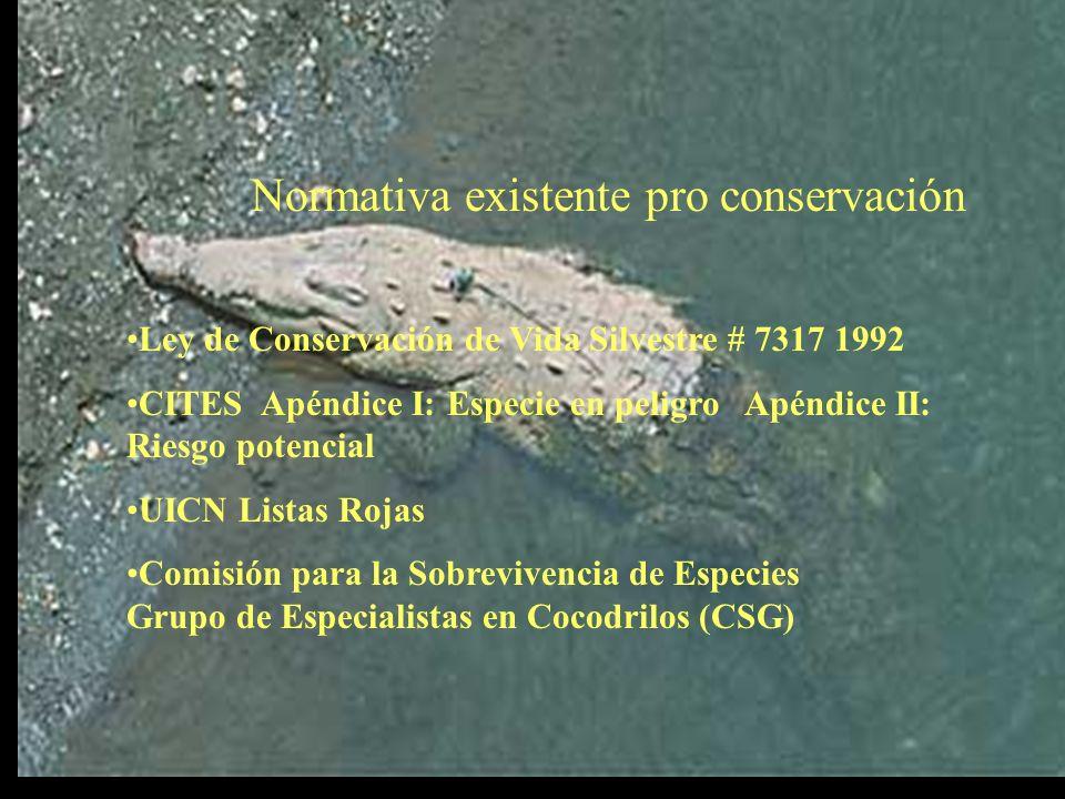 Normativa existente pro conservación