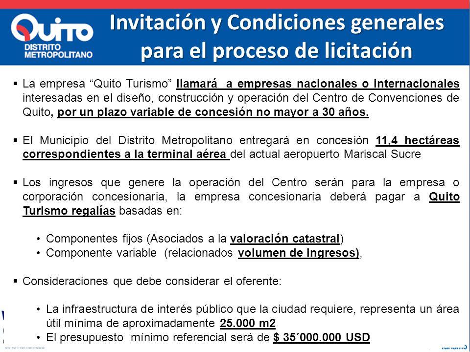 Invitación y Condiciones generales para el proceso de licitación