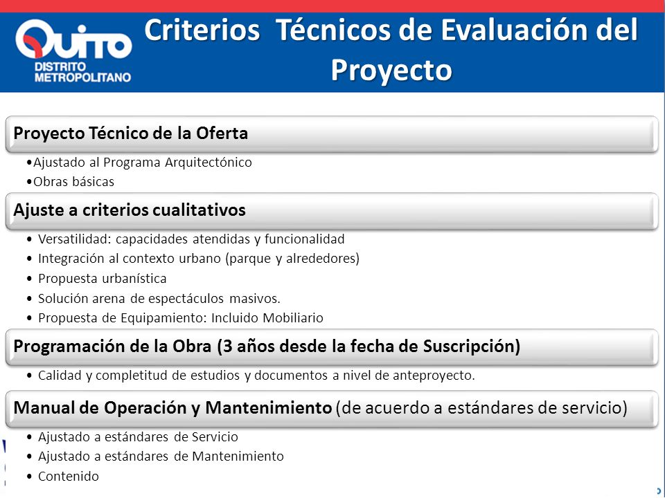 Criterios Técnicos de Evaluación del Proyecto