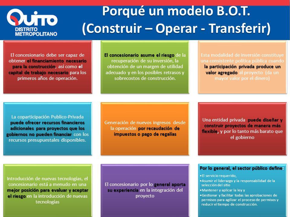Porqué un modelo B.O.T. (Construir – Operar - Transferir)