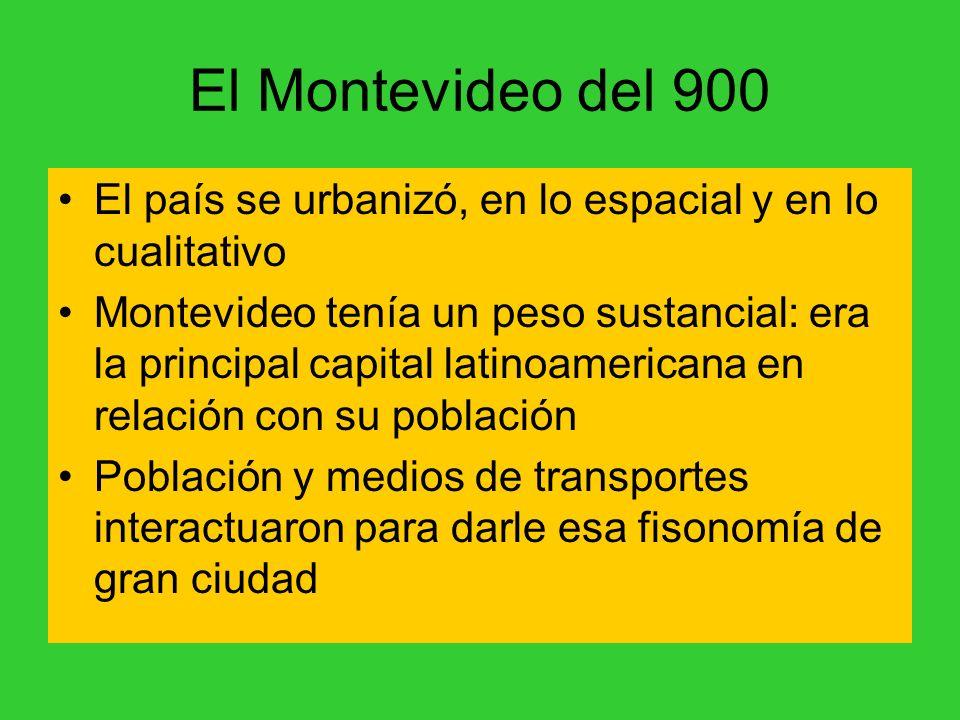 El Montevideo del 900 El país se urbanizó, en lo espacial y en lo cualitativo.