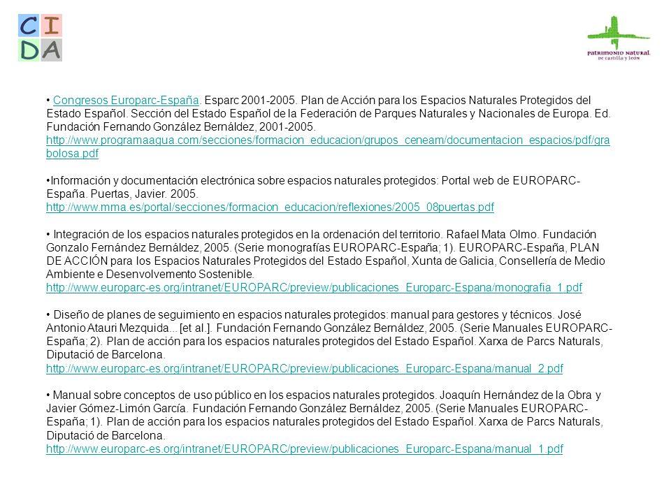 Congresos Europarc-España. Esparc 2001-2005
