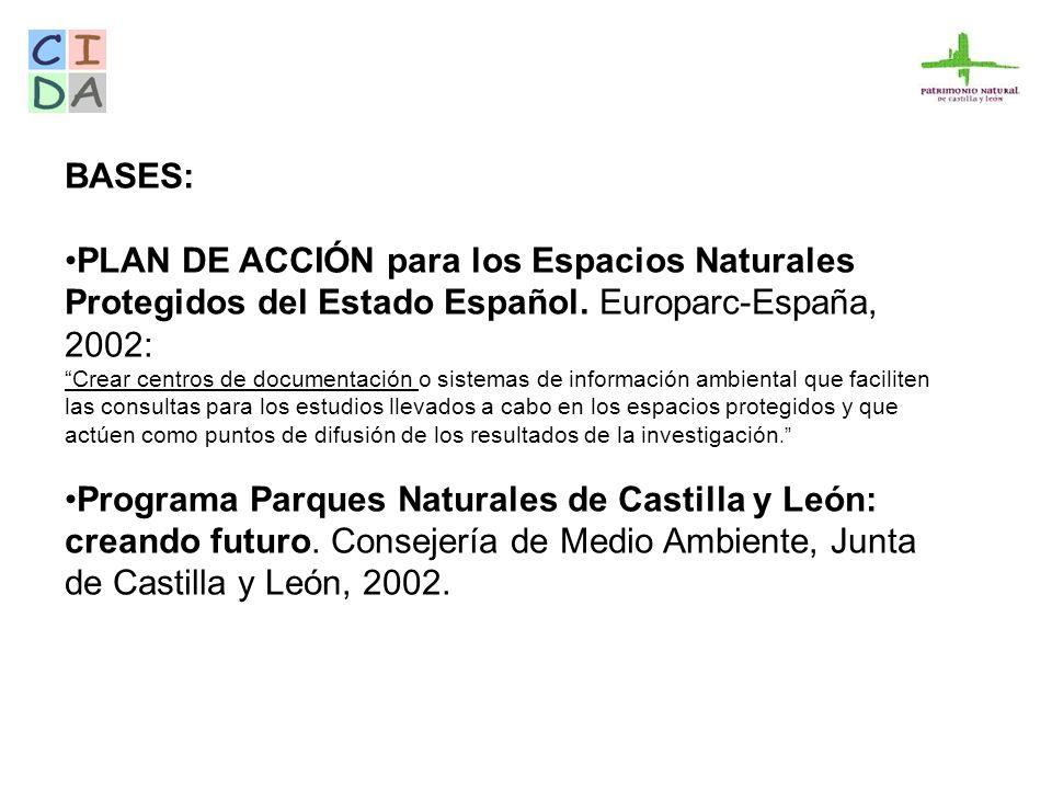 BASES: PLAN DE ACCIÓN para los Espacios Naturales Protegidos del Estado Español. Europarc-España, 2002: