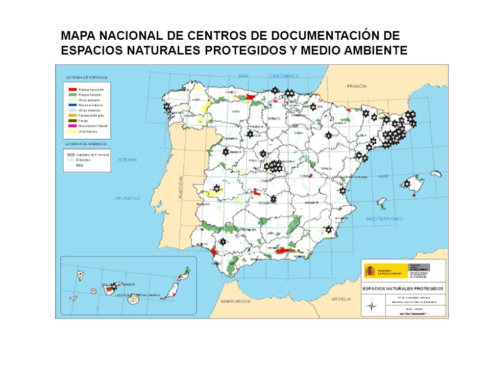 MAPA NACIONAL DE CENTROS DE DOCUMENTACIÓN DE ESPACIOS NATURALES PROTEGIDOS Y MEDIO AMBIENTE