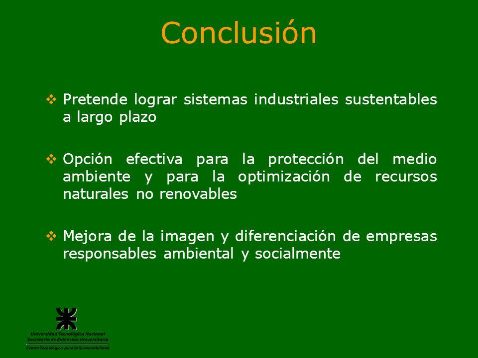 Conclusión Pretende lograr sistemas industriales sustentables a largo plazo.
