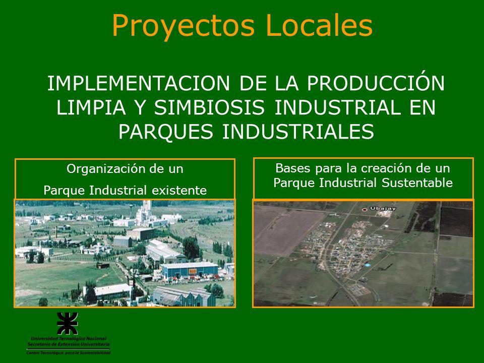 Proyectos Locales IMPLEMENTACION DE LA PRODUCCIÓN LIMPIA Y SIMBIOSIS INDUSTRIAL EN PARQUES INDUSTRIALES.
