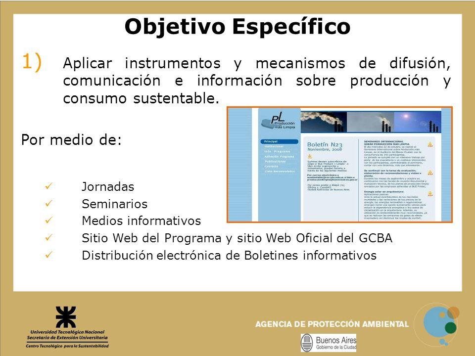 Objetivo Específico Aplicar instrumentos y mecanismos de difusión, comunicación e información sobre producción y consumo sustentable.