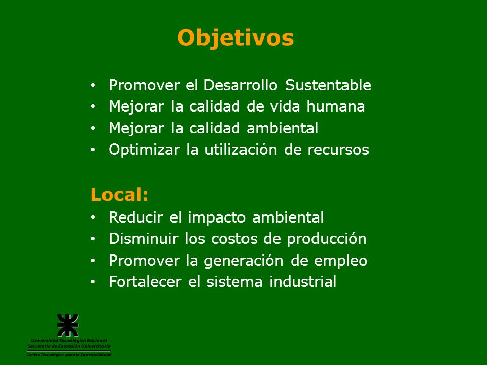 Objetivos Local: Promover el Desarrollo Sustentable