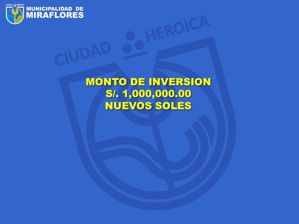 MONTO DE INVERSION S/. 1,000,000.00 NUEVOS SOLES