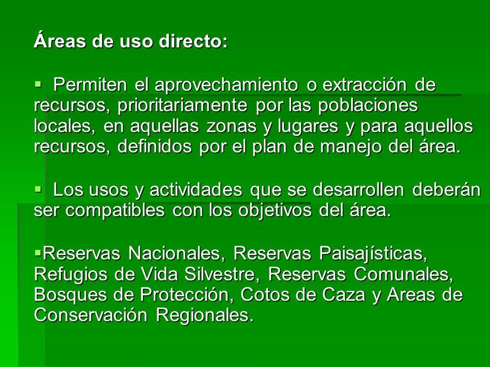 Áreas de uso directo: