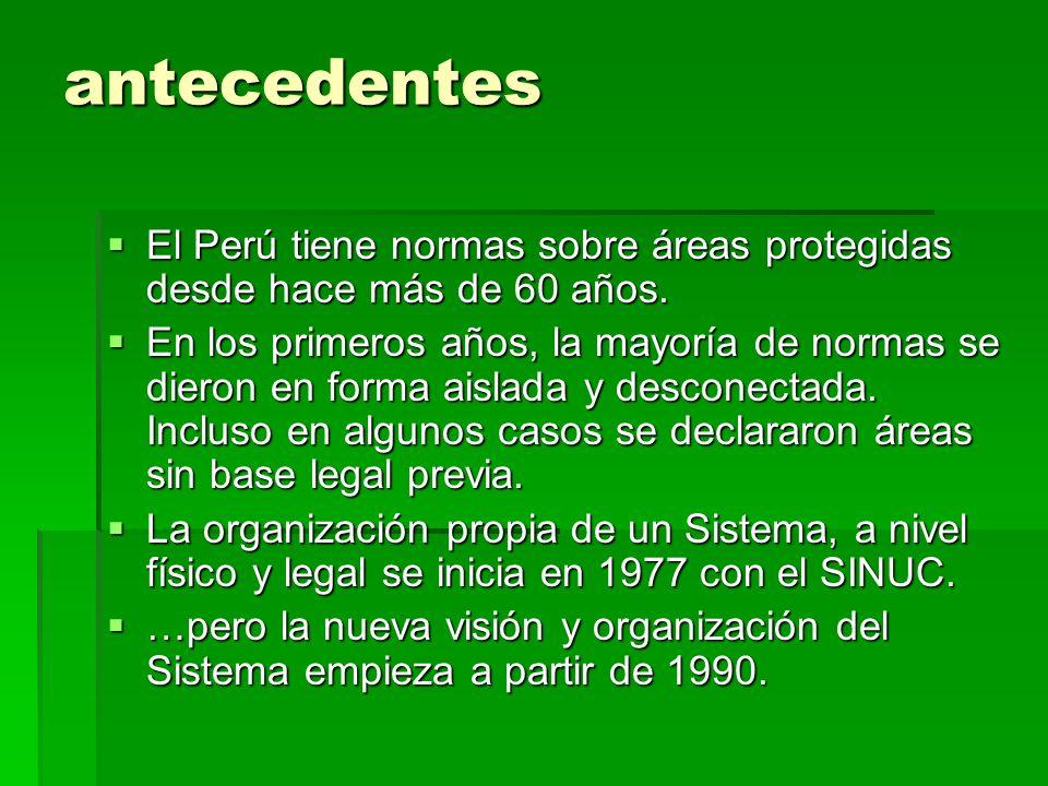 antecedentesEl Perú tiene normas sobre áreas protegidas desde hace más de 60 años.