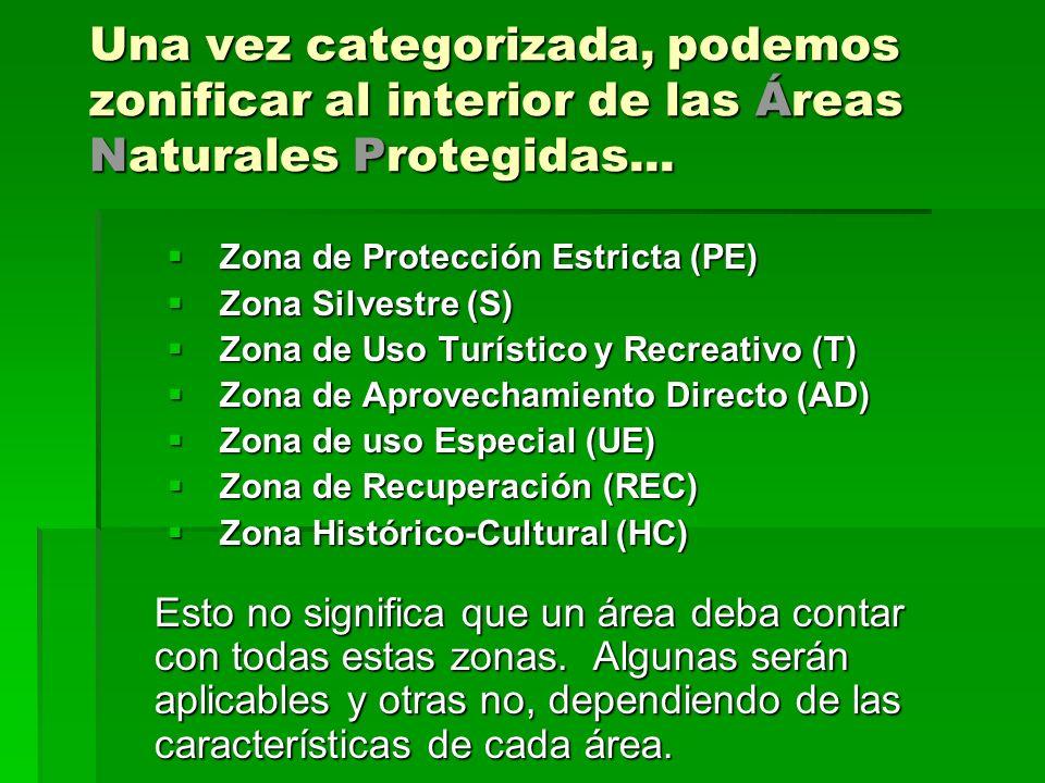 Una vez categorizada, podemos zonificar al interior de las Áreas Naturales Protegidas...
