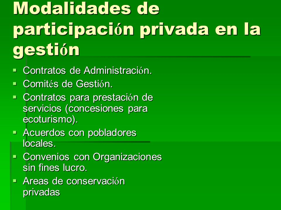 Modalidades de participación privada en la gestión