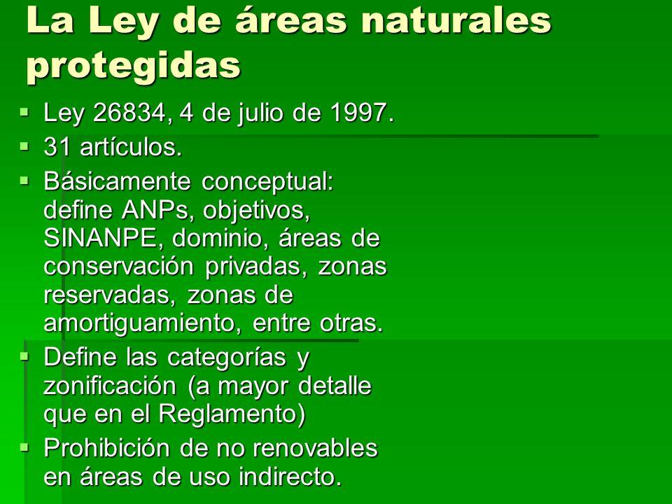 La Ley de áreas naturales protegidas