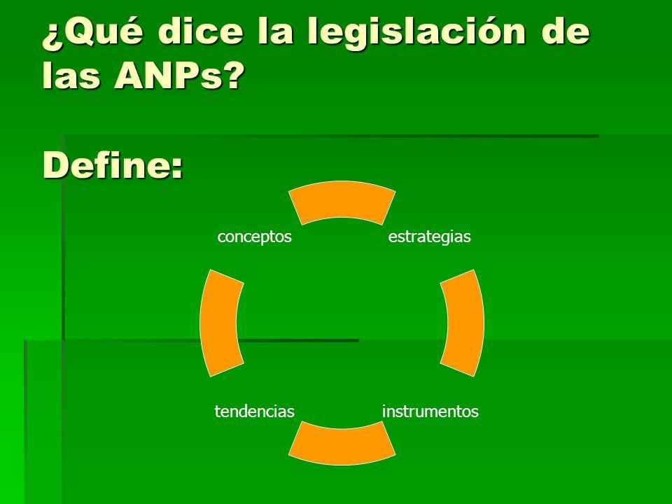 ¿Qué dice la legislación de las ANPs Define: