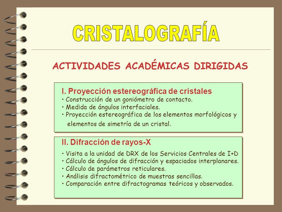 CRISTALOGRAFÍA ACTIVIDADES ACADÉMICAS DIRIGIDAS
