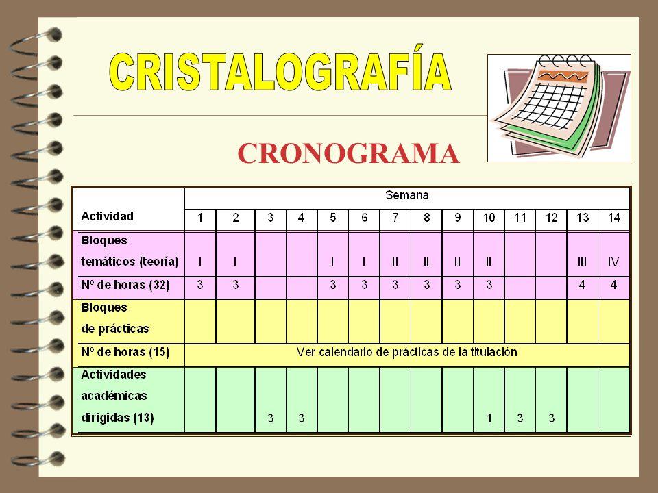 CRISTALOGRAFÍA CRONOGRAMA