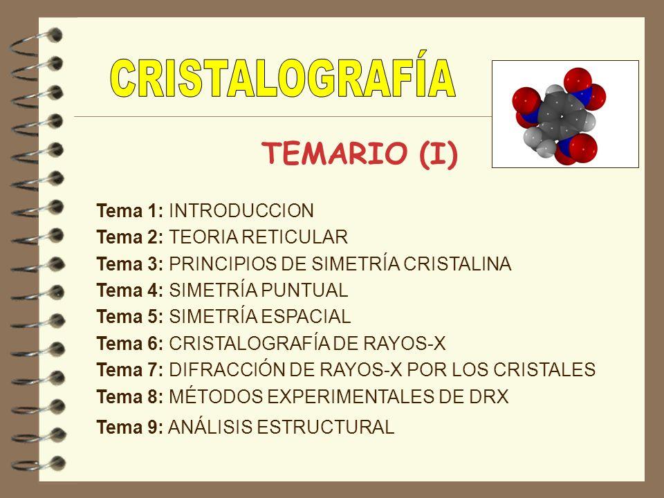 CRISTALOGRAFÍA TEMARIO (I) Tema 1: INTRODUCCION