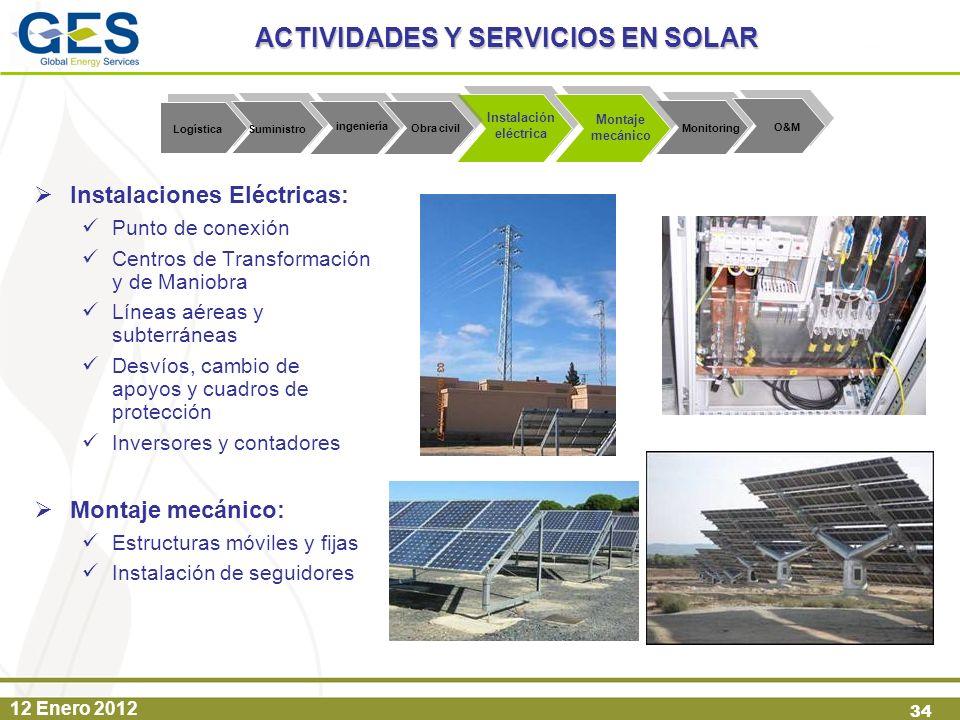 ACTIVIDADES Y SERVICIOS EN SOLAR Instalación eléctrica