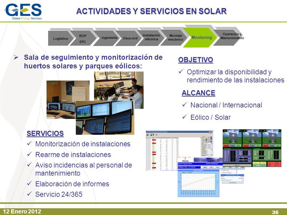 ACTIVIDADES Y SERVICIOS EN SOLAR