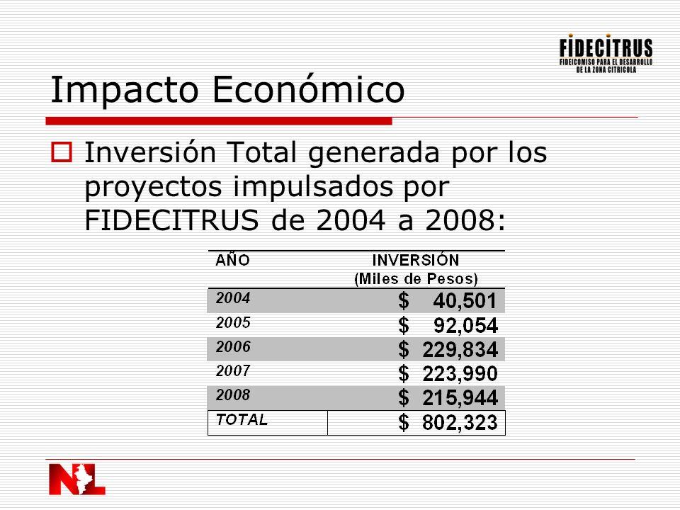 Impacto Económico Inversión Total generada por los proyectos impulsados por FIDECITRUS de 2004 a 2008: