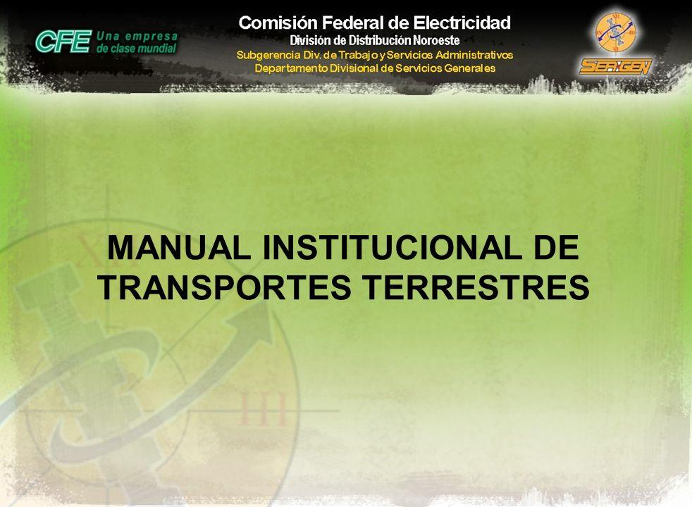 MANUAL INSTITUCIONAL DE TRANSPORTES TERRESTRES