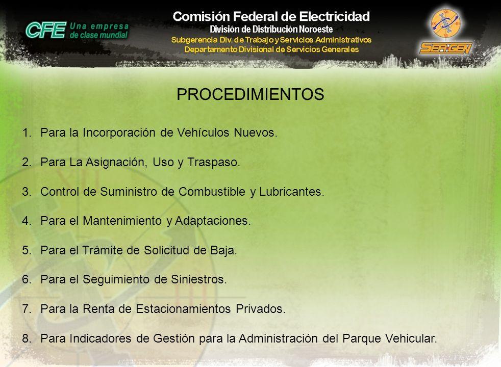 PROCEDIMIENTOS Para la Incorporación de Vehículos Nuevos.