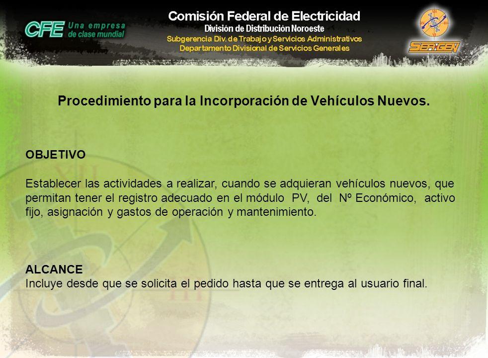 Procedimiento para la Incorporación de Vehículos Nuevos.