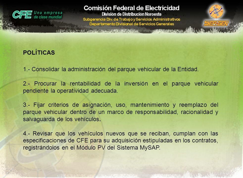 POLÍTICAS 1.- Consolidar la administración del parque vehicular de la Entidad.