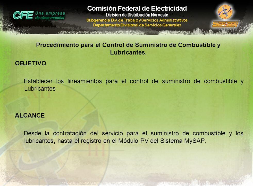 Procedimiento para el Control de Suministro de Combustible y Lubricantes.