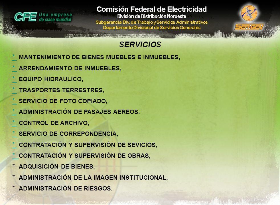 SERVICIOS * MANTENIMIENTO DE BIENES MUEBLES E INMUEBLES,