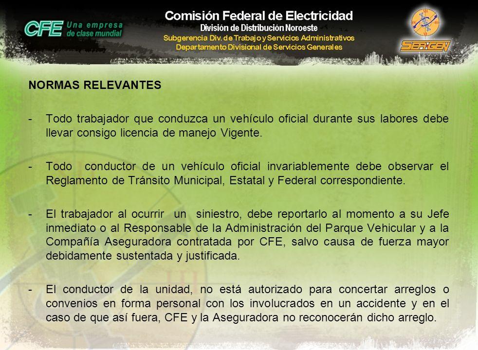 NORMAS RELEVANTES Todo trabajador que conduzca un vehículo oficial durante sus labores debe llevar consigo licencia de manejo Vigente.