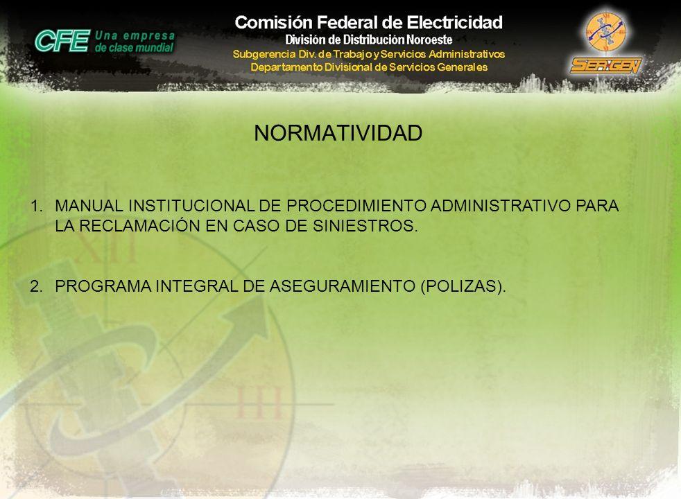 NORMATIVIDAD MANUAL INSTITUCIONAL DE PROCEDIMIENTO ADMINISTRATIVO PARA LA RECLAMACIÓN EN CASO DE SINIESTROS.