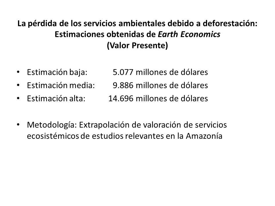 La pérdida de los servicios ambientales debido a deforestación: Estimaciones obtenidas de Earth Economics (Valor Presente)