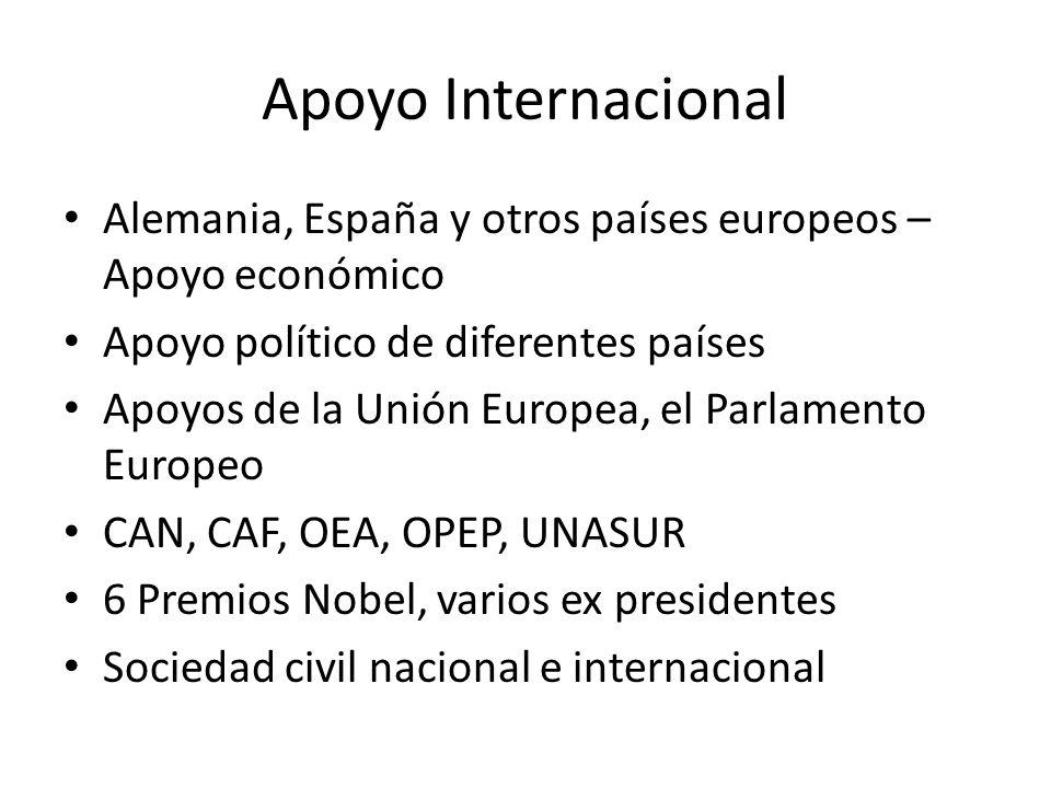 Apoyo Internacional Alemania, España y otros países europeos – Apoyo económico. Apoyo político de diferentes países.
