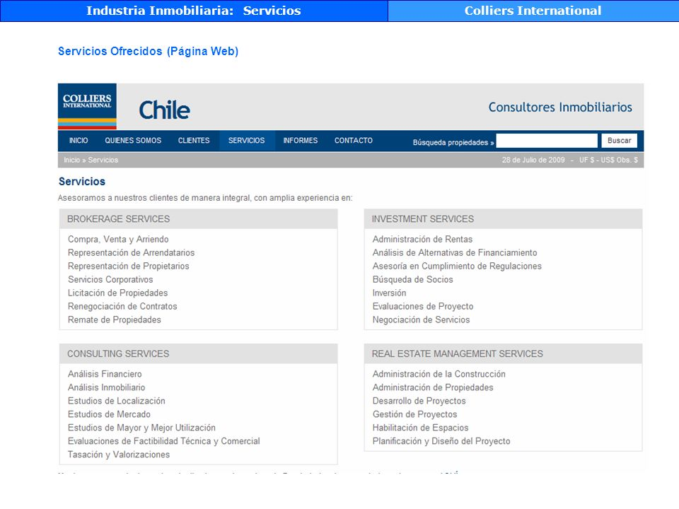 Industria Inmobiliaria: Servicios Colliers International