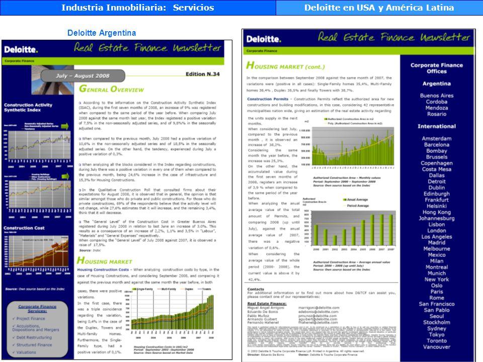 Industria Inmobiliaria: Servicios Deloitte en USA y América Latina