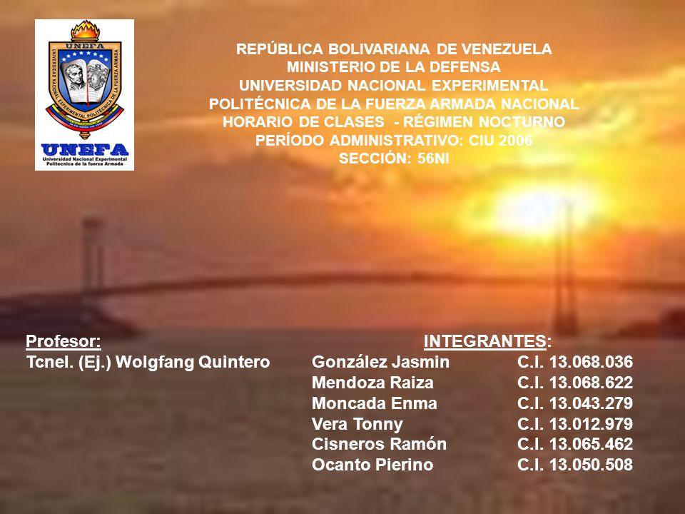 Tcnel. (Ej.) Wolgfang Quintero INTEGRANTES: