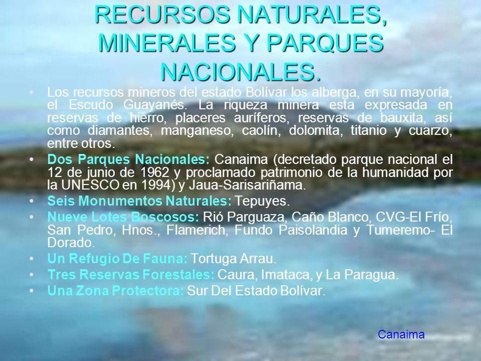 RECURSOS NATURALES, MINERALES Y PARQUES NACIONALES.