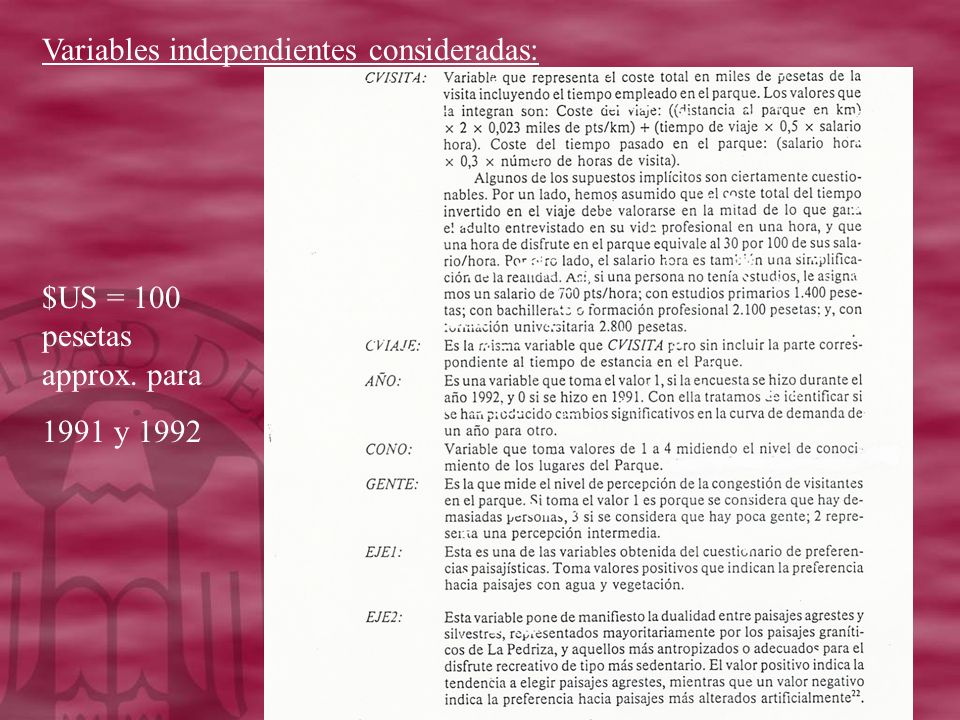 Variables independientes consideradas:
