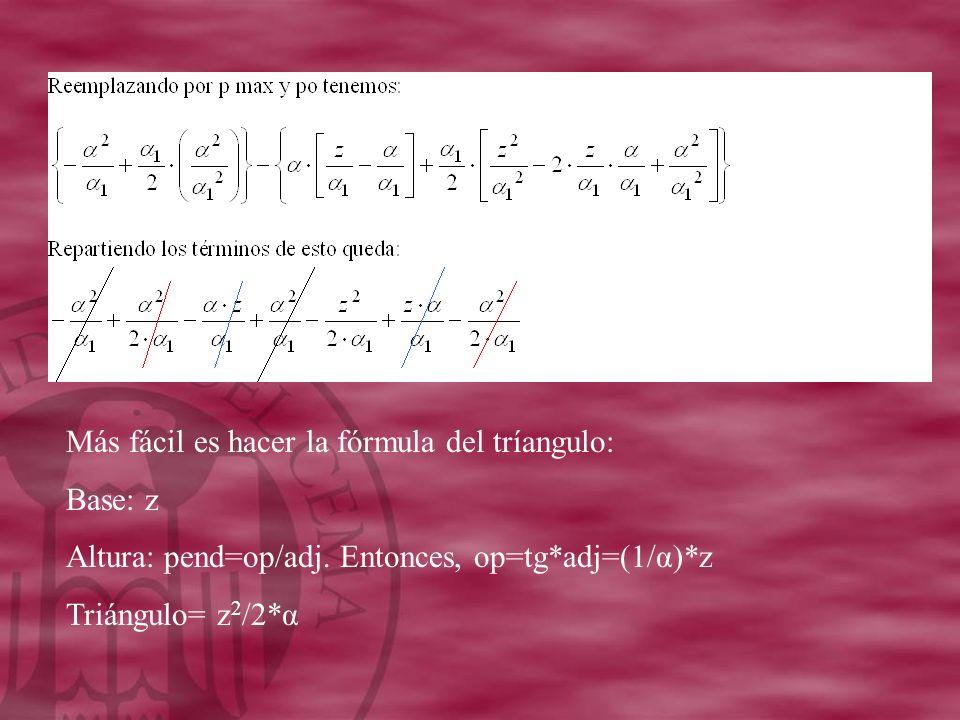 Más fácil es hacer la fórmula del tríangulo: