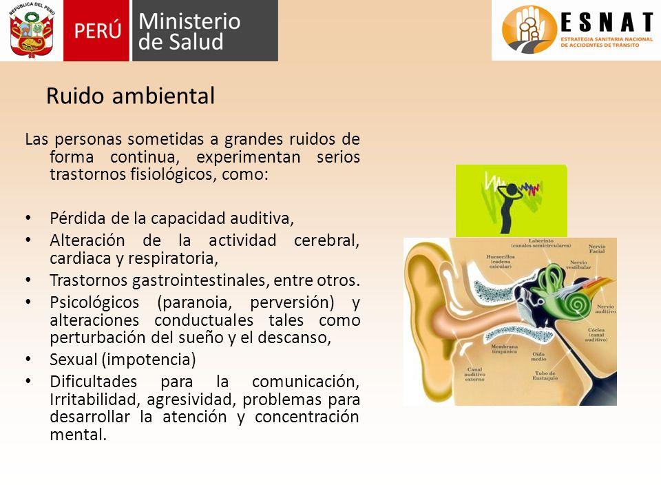 Ruido ambiental Las personas sometidas a grandes ruidos de forma continua, experimentan serios trastornos fisiológicos, como: