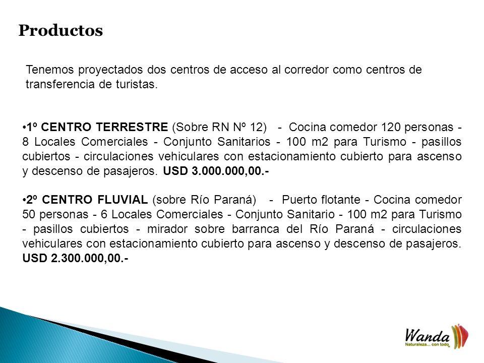 Productos Tenemos proyectados dos centros de acceso al corredor como centros de transferencia de turistas.