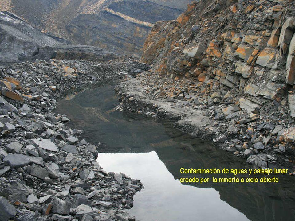 Contaminación de aguas y paisaje lunar