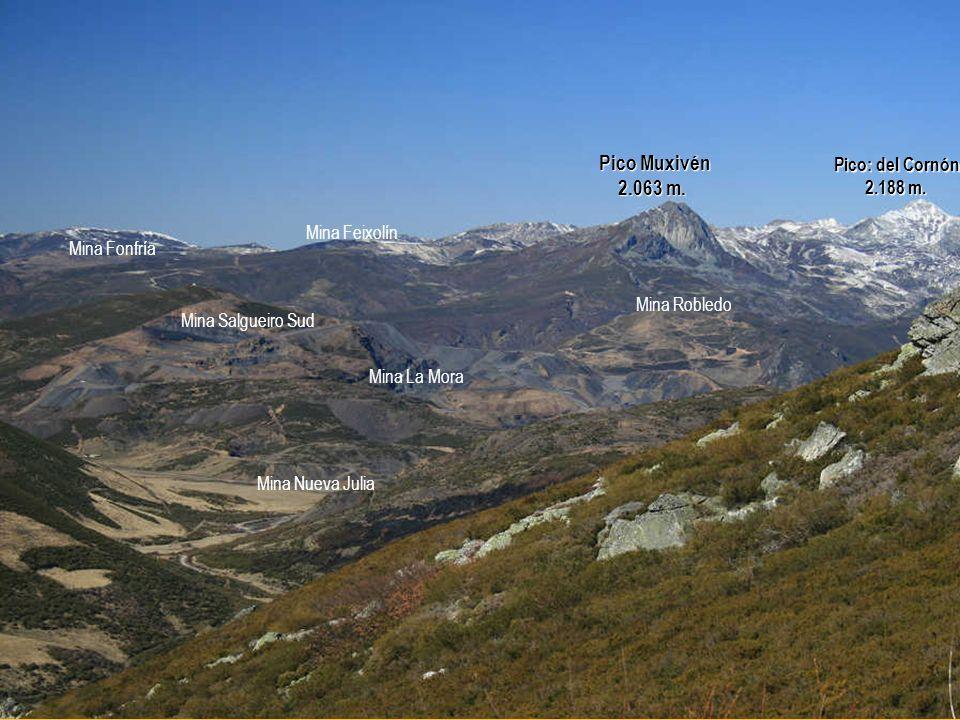 Pico Muxivén 2.063 m. Pico: del Cornón 2.188 m. Mina Feixolín