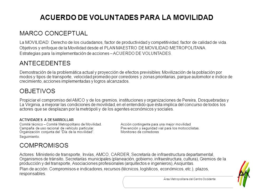 ACUERDO DE VOLUNTADES PARA LA MOVILIDAD
