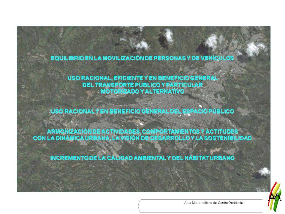 EQUILIBRIO EN LA MOVILIZACIÓN DE PERSONAS Y DE VEHÍCULOS USO RACIONAL, EFICIENTE Y EN BENEFICIO GENERAL DEL TRANSPORTE PÚBLICO Y PARTICULAR MOTORIZADO Y ALTERNATIVO USO RACIONAL Y EN BENEFICIO GENERAL DEL ESPACIO PÚBLICO ARMONIZACIÓN DE ACTIVIDADES, COMPORTAMIENTOS Y ACTITUDES CON LA DINÁMICA URBANA, LA VISIÓN DE DESARROLLO Y LA SOSTENIBILIDAD INCREMENTO DE LA CALIDAD AMBIENTAL Y DEL HÁBITAT URBANO