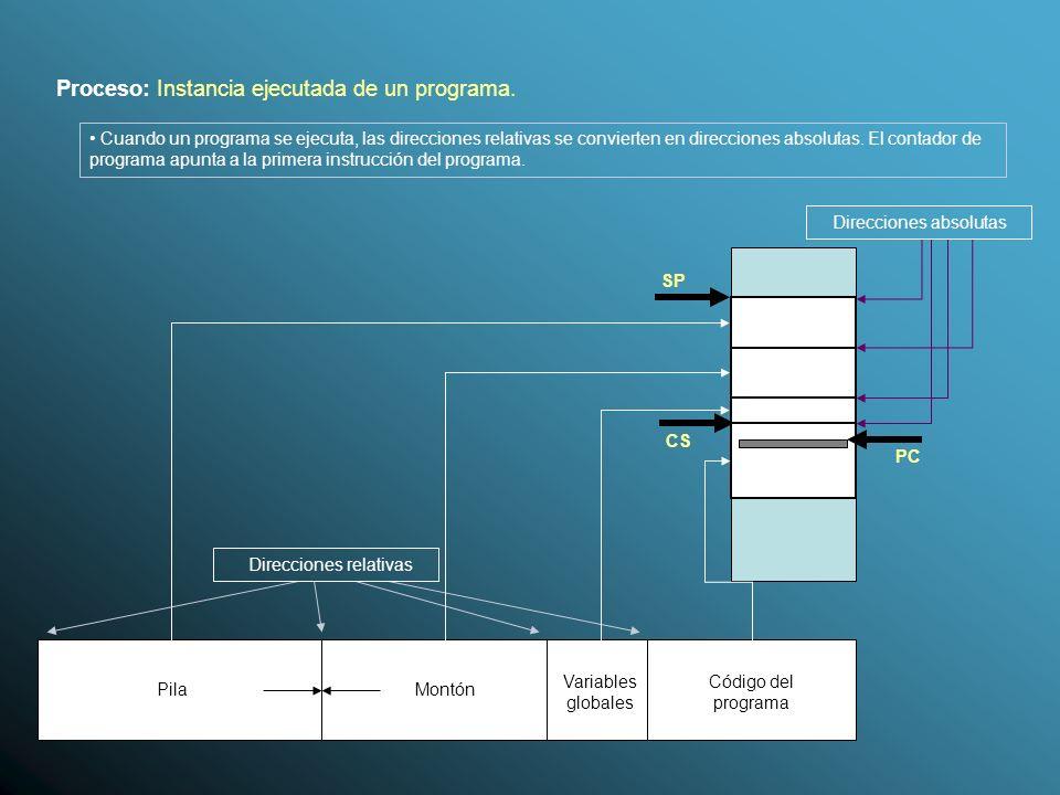 Proceso: Instancia ejecutada de un programa.