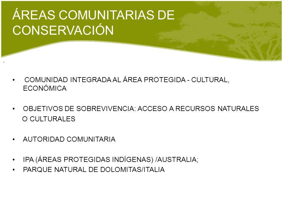 ÁREAS COMUNITARIAS DE CONSERVACIÓN